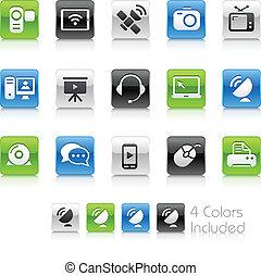 comunicação, ícones, //, limpo, série
