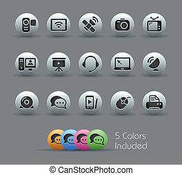 comunicação, ícones, //, perolado, serie