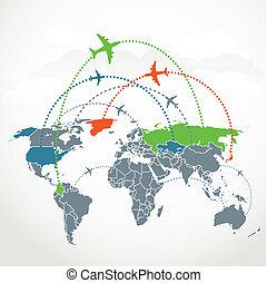comunicação, abstratos, esquema, vôos, estrangeiro