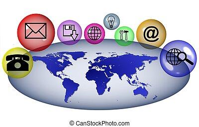 comunicação, ao redor, mundo