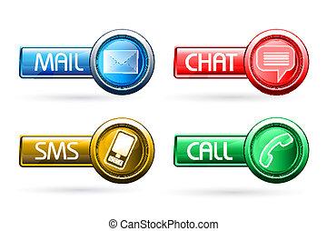 comunicação, botões
