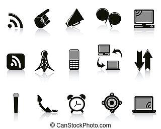 comunicação, branca, isolado, fundo, ícones