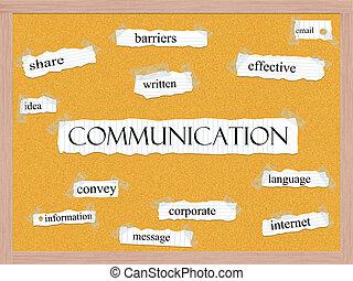 comunicação, conceito, corkboard, palavra