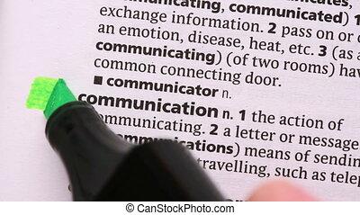 comunicação, destacado, em, verde