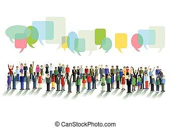 comunicação, e, opiniões