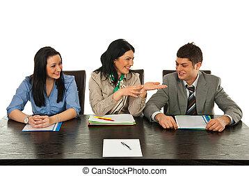 comunicação, feliz, pessoas negócio