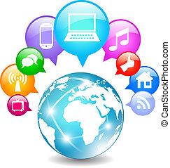 comunicação, global, ícone