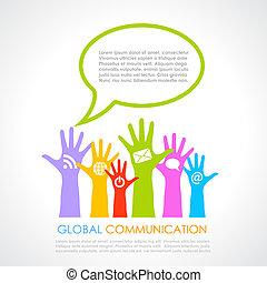 comunicação, global, cartaz