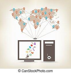 comunicação, global, computador