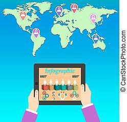 comunicação global, conceito, teamwork., negócio