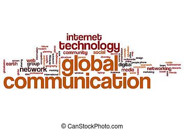 comunicação global, palavra, nuvem