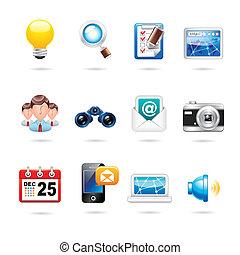 comunicação, jogo, ícone internet