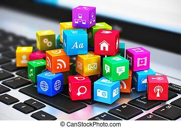 comunicação, mídia, conceito, computador, internet