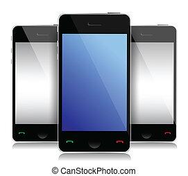 comunicação, móvel, conceito