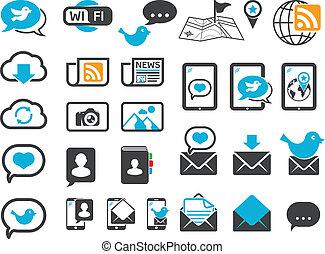 comunicação, modernos, ícones