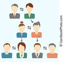 comunicação, processo, com, avatars, isolado, ligado, azul