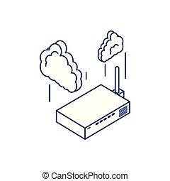 comunicação, router, tecnologia, nuvem, computando