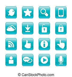 comunicação, set., teia, vetorial, internet, icons: