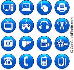 comunicação, tecnologia, elementos, desenho