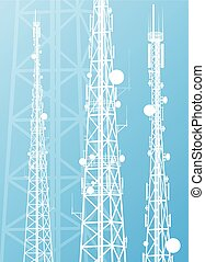comunicação, torre transmissão, sinal rádio, telefone,...