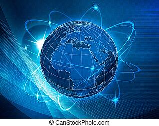 comunicações, global, transporte, fundo