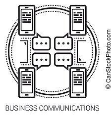 comunicações, linha, negócio, icons.
