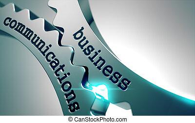 comunicações negócio, ligado, metal, gears.