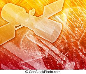 comunicações, satélite, conceito abstrato, ilustração digital