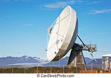 comunicações satélite, prato, perto, hofn, islândia