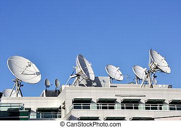 comunicações satélite, pratos, cima, tv, estação