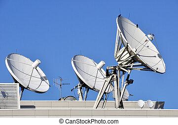 comunicações, satélite, telhado, pratos