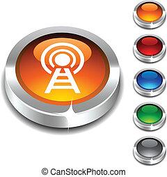 comunicación, 3d, button.