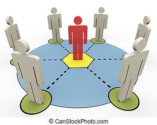 comunicación, 3d, gente