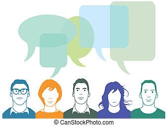 comunicación, c, charla, gente