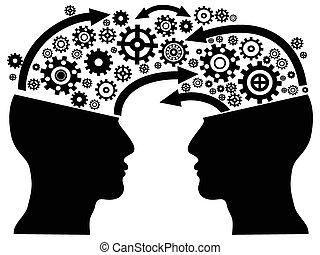 comunicación, cabeza, engranajes
