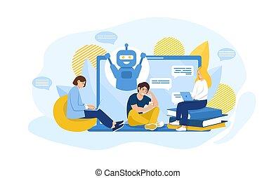 comunicación, chatbot, concepto, en línea