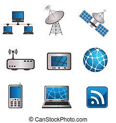 comunicación, computadora, conjunto, icono
