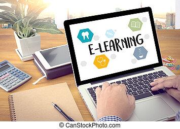 comunicación, comunicación global, educación, y, e- aprendizaje, mundo, de, educación, empresa / negocio, mundo, global, ecología, internacional
