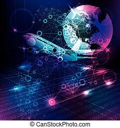 comunicación, concept., global, avión, background.passenger, tecnología, earth., resumen