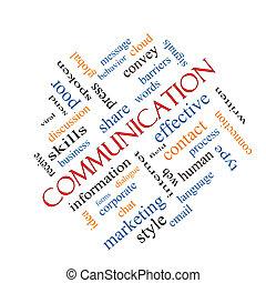 comunicación, concepto, palabra, nube, angular