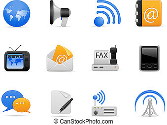 comunicación, conjunto, icono