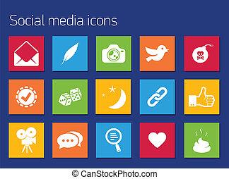 comunicación, conjunto, iconos
