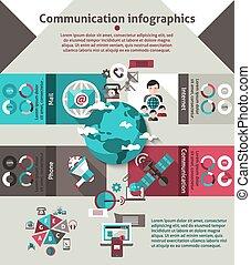 comunicación, conjunto, infographics