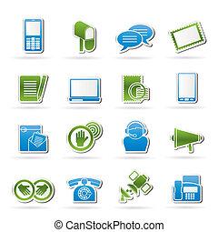 comunicación, contacto, iconos