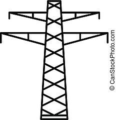 comunicación, eléctrico, torre, icono, contorno, estilo