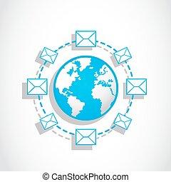 comunicación, email, mundo, mensajería