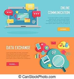 comunicación en línea, y, datos, intercambio, banners.