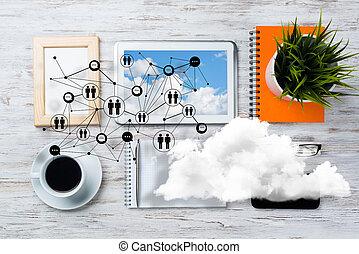 comunicación global, concepto, establecimiento de una red,...
