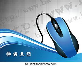 comunicación global, internet, plano de fondo, con, ratón de...