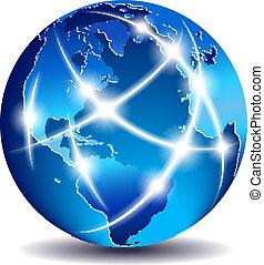 comunicación, global, mundo, comercio